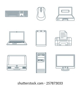 vector dark grey outline various computer gadgets office devices icons set