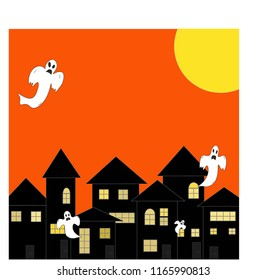 Vector - Dark haunted house and white ghosts on orange background and big moon. Free space. Can be use decorate for brochure, banner, invitation card, advertising. Halloween season.