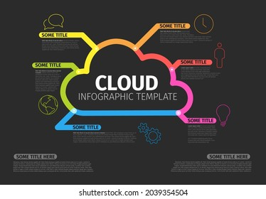 Vector dark Infographic report template made from thick color lines and icons with cloud storage. Cloud illustration infograph template layout on black background