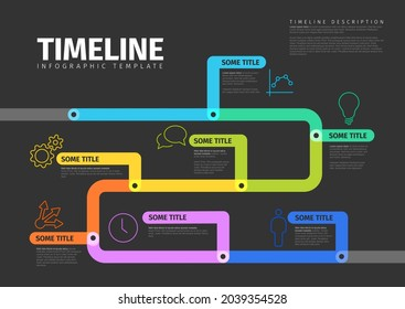 Vector dark Infographic timeline report template with thick lines and icons. Color infochart template for time line history path with various milestones
