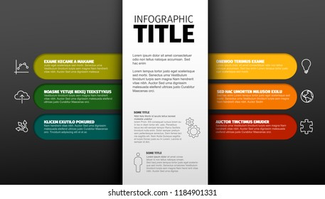Vector dark multipurpose Infographic template with six elements and the title with description in the midle