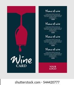 vector dark pink and dark blue wine card with glass and drops