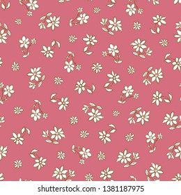 Vector dark pink hand drawn flowers repeat pattern. Suitable for gift wrap, textile and wallpaper. Suitable for gift wrap, textile and wallpaper. Surface pattern design.