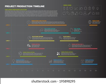 Vector dark project timeline graph - progress chart of project