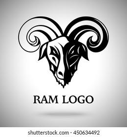 Vector dark ram (goat) head with horns, template for logo, badge, label etc