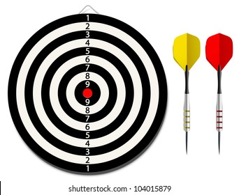 Vector dartboard with two darts on white background