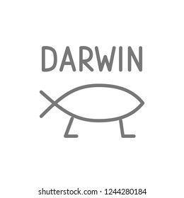 Vector darwin fish, evolution line icon. Symbol and sign illustration design. Isolated on white background
