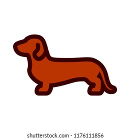 Vector Daschund Dog Icon Isolated On White Background