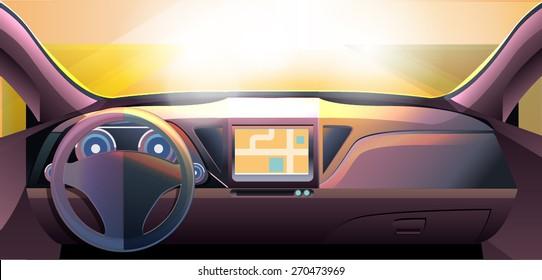 Vector: Dashboard Car Auto