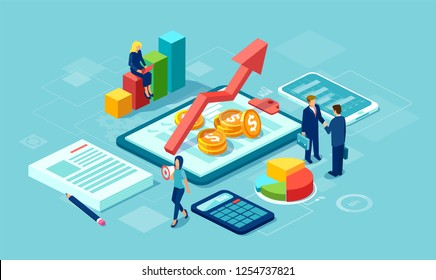 Vector of data analysis concept with team of businesspeople growing successful business using modern technology gadgets