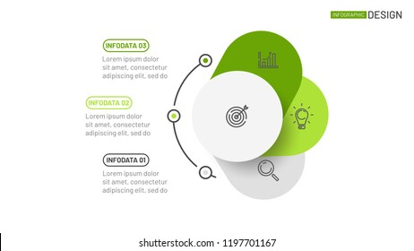 Vector data visualization design template for presentation. Business concept with 3 options, steps. Can be used for workflow layout, annual report, web design.