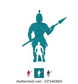 Vector David vs. Goliath, Spear vs Sling, Warriors Silhouette Logo. Modern and Professional Business Branding, Corporate Identity Icon. Simple, Minimal,  Illustration, Symbol, Shape, Object.