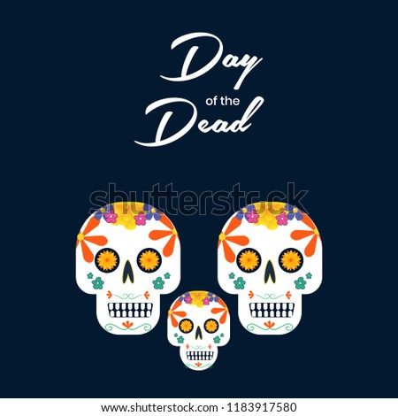 Vector Day Of The Dead Poster Wallpaper And Card Design Illustration With Colorful Sugar Skull