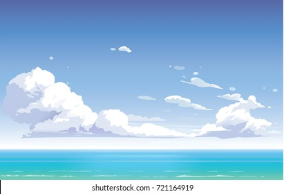 Vector day landscape sky clouds. Sunset. Clean style. Background design