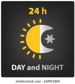 vector day and night icon, sun and moon. 24 h
