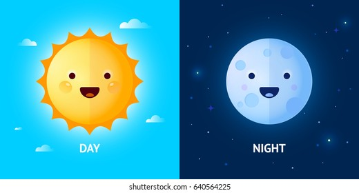 Vector day and night illustration with cute smiling sun and moon cartoon characters