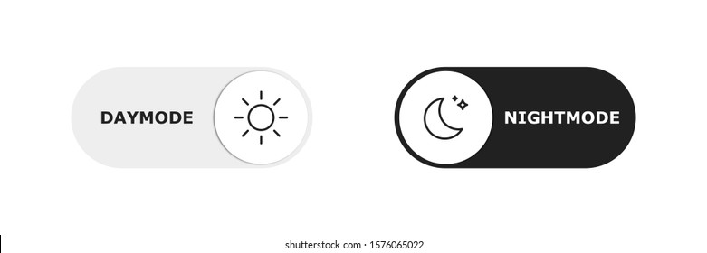 Vector day night switch. Mobile app interface design concept. Dark mode switch icon. Day and night mode gadget application. Light and dark icon. EPS 10