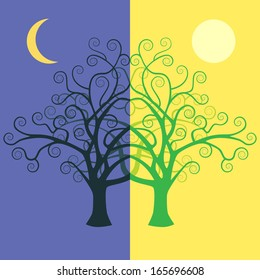 Vector day and night tree.