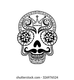 Vector Dead Skull illustration, Hand drawn Skull in zentangle style, tribal totem for tattoo, adult Coloring Page with high details isolated on white background.