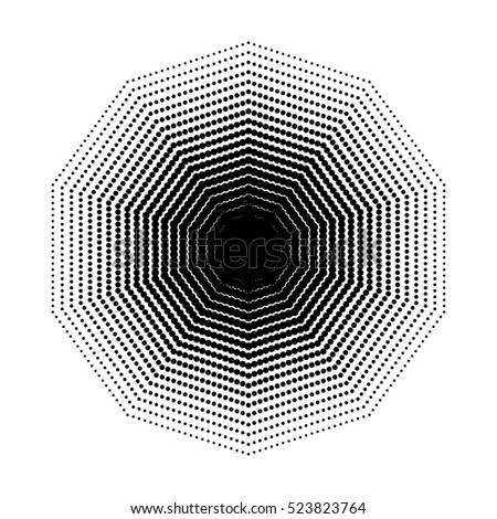 Vector Decagon Halftone Geometric Shapes Dot Stock Vector Royalty