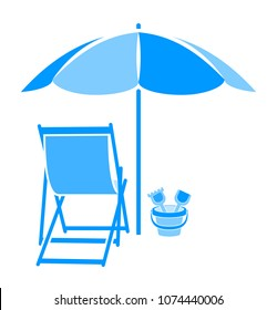 vector deck chair and sand bucket under beach umbrella isolated on white background
