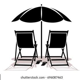 Beach Chair Umbrella Isolated Stock Vectors Images Vector Art