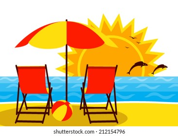 vector deck chairs under umbrella on the beach and sunset over the sea