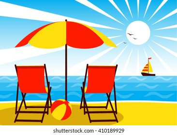 vector deck chairs under umbrella on the beach