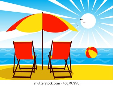 vector deck chairs under umbrella on the beach and beach ball floating on the sea