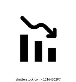 vector declining graph icon.