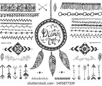 Vector  decor set, collection of hand drawn doodle boho style dividers, borders, arrows, design elements, dream catchers. Isolated. May be used for wedding invitations, birthday cards, banners