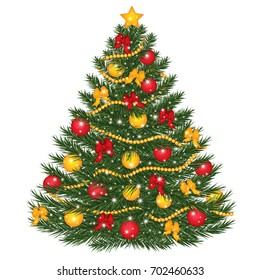 Vector decorated Christmas tree. Christmas tree decorated with balls, red bows, lights and star. Christmas tree vector illustration