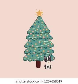Vector of a decorated Christmas tree and with a Boston Terrier breed dog next to it.