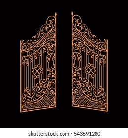 Vector Decorated Golden Opened Gates Illustration. Isolated on dark background