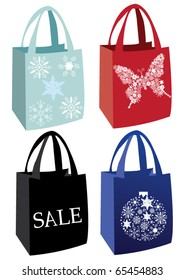 vector decorated holiday shopping bags