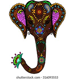 Vector decorated Indian Elephant  color sketch