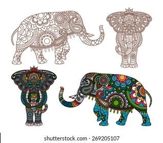 Vector decorated Indian Elephant silhouette and colored