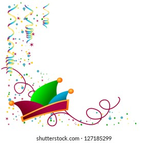 vector decoration for carnival with hat and confetti / colored carnival hat with ornament and confetti