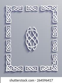 Vector decorative 3d paper frames.