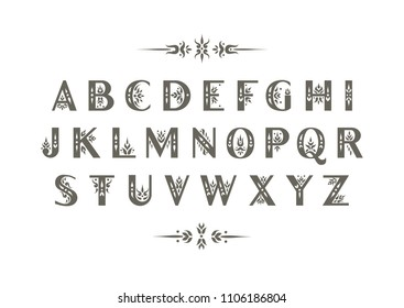 Vector decorative alphabet. Sans Serif capital letters decorated with vintage flourishes. For initials, monograms, wedding design.