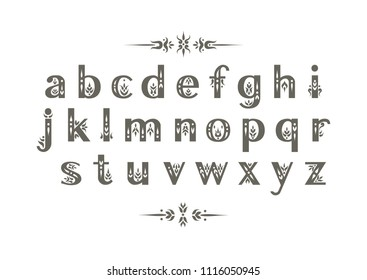 Vector decorative alphabet. Sans Serif lowercase letters decorated with vintage flourishes. For wedding design.