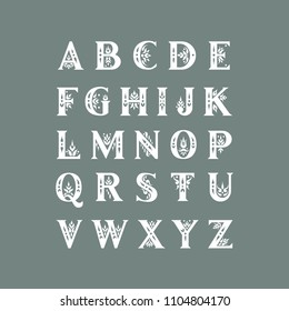 Vector decorative alphabet. Serif capital letters decorated with vintage flourishes. For initials, monograms, wedding design.