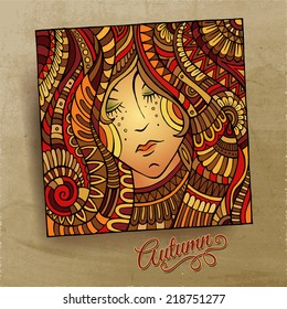 Vector decorative autumn beautiful girl portrait vector illustration