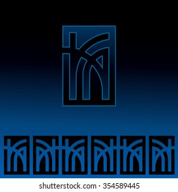 Vector decorative border and a monogram of the letters K & A