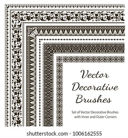 Vector Decorative Brushes with Inner and Outer Corners. Seamless Borders for Patterned Frames.