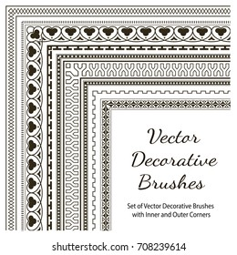 Vector Decorative Brushes with Inner and Outer Corners. Seamless Borders for Patterned Frames