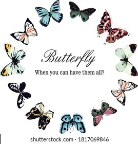 Vector decorative butterflies in circle shape with place for text illustration. Butterfly decoration on round, beauty insect. t-shirt design.