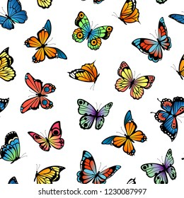 Vector decorative butterflies pattern or background illustration
