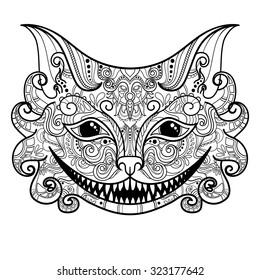 Vector Decorative Cheshire Cat. Isolated Fictitious Animal On White Background. Zentangle Style