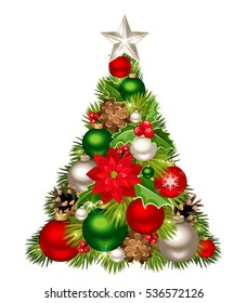 Vector decorative Christmas tree with red, green and silver balls, pinecones, poinsettia and holly.